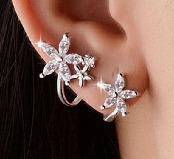 Flowers shaped sterling Silver Clip Earrings with Zircon