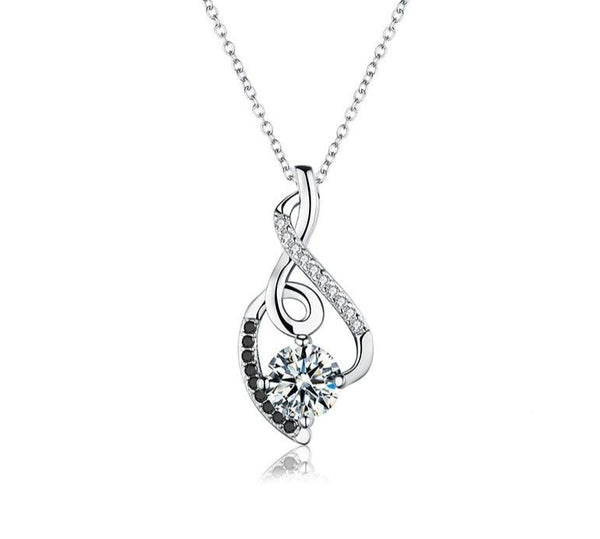 Sterling Silver Necklace+ Pendant made with Black & White Zircon.