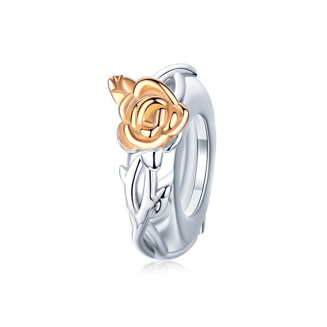 Rose flower pendant made from sterling Silver (Rose Gold Color) Does not come with bracelet.