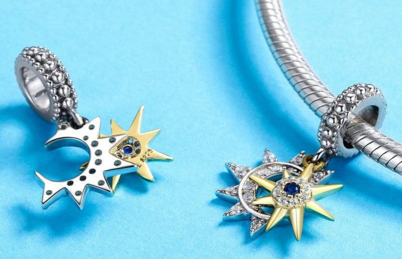 "Sterling Silver ""Sun & Moon£ Pendant  Fits bracelets & necklace."
