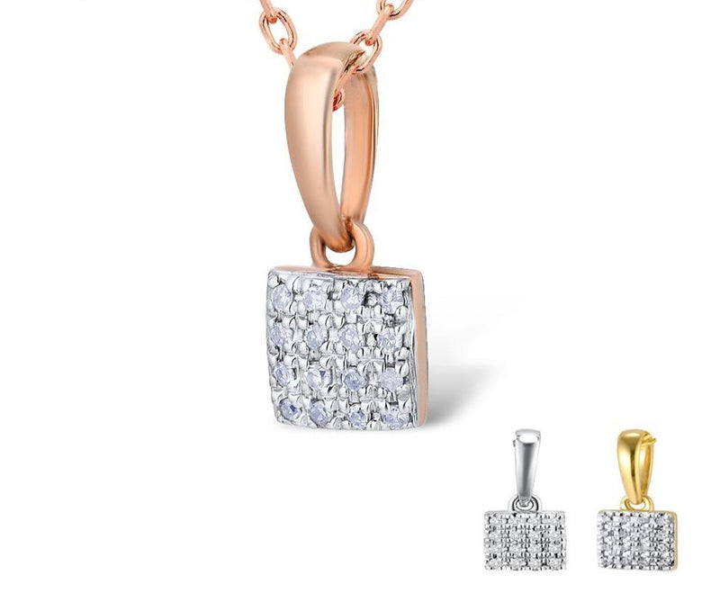 Rose White Gold Pendant (0.0320CT). Diamond square pendant.