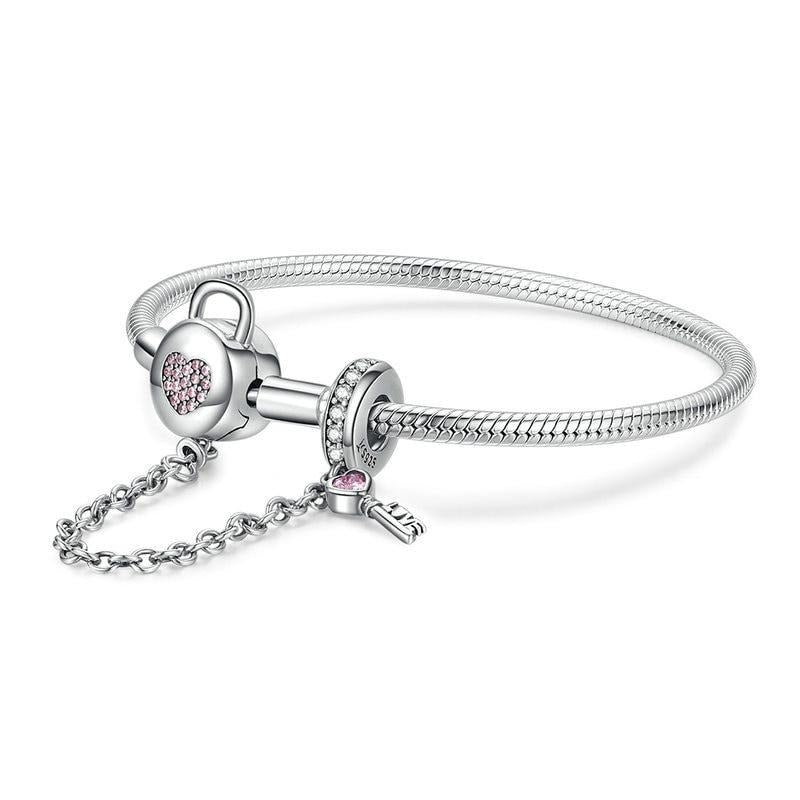 Zircon Pink heart Lock and Key  Bracelet
