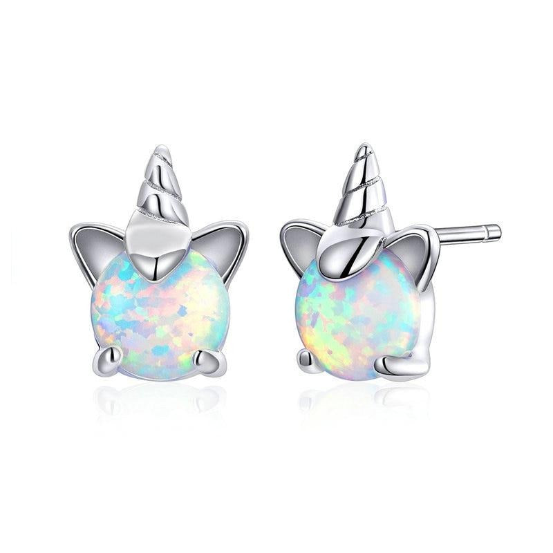 Sterling Silver with white Opal unicorn stud earrings for kids