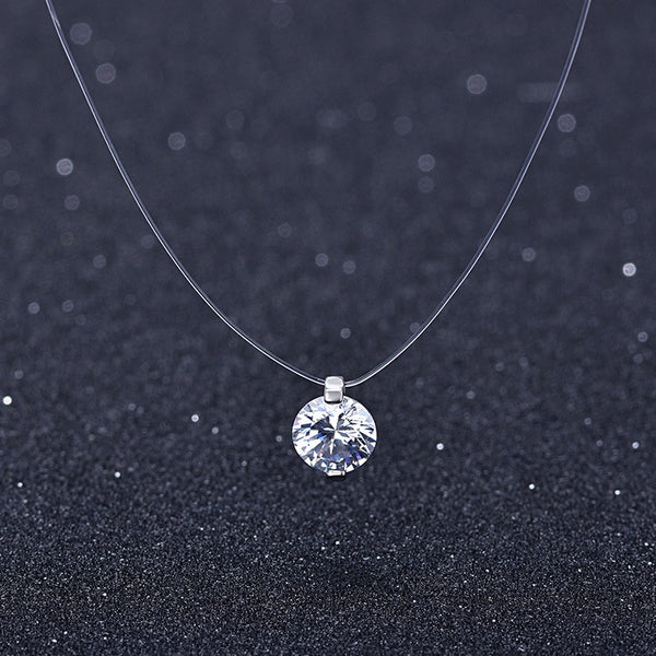Silver transparent fishing line necklace with snowball Crystal pendant