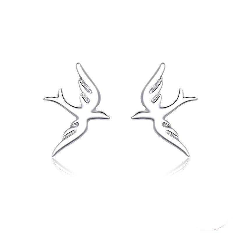 Sparrow shaped stud earrings.