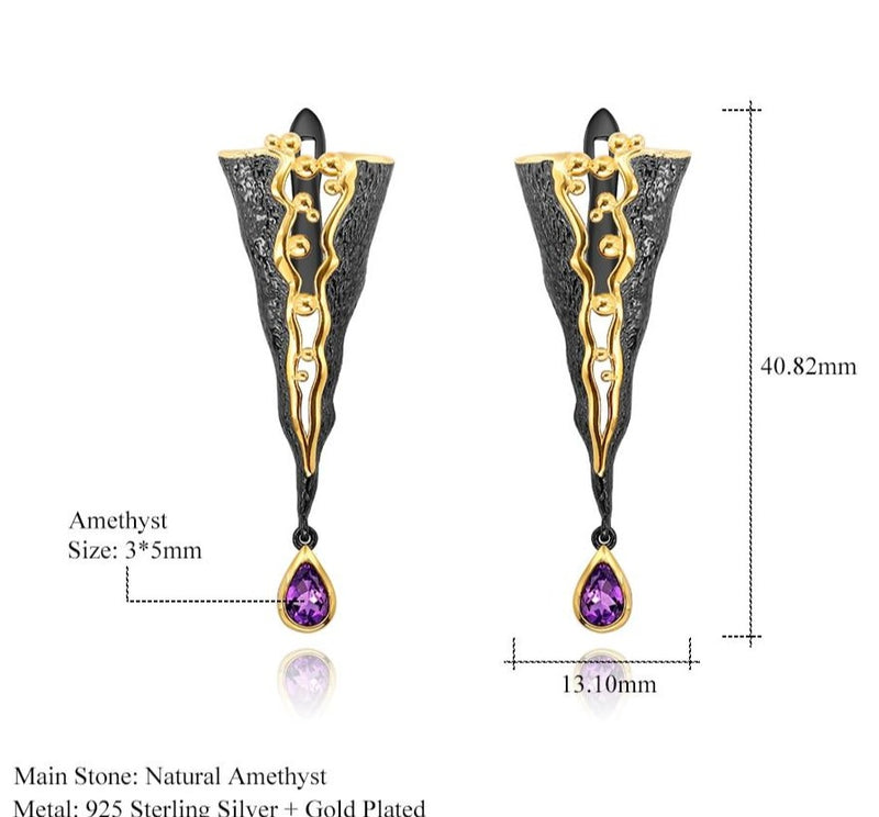 Handmade Golden Bead Honey Raindrop earrings with Amethyst stones.