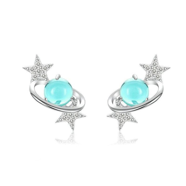 Blue Planet with Star stud earrings made with Zircon & Silver