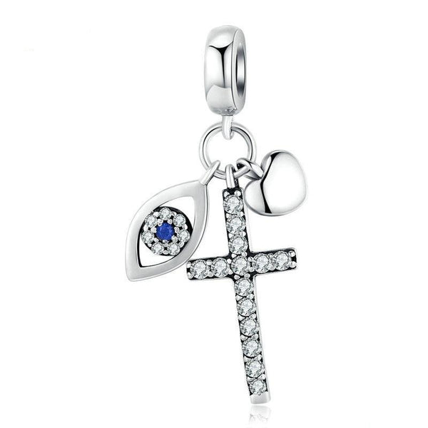 """Guardian Eye & Cross"" Pendant for bracelet and necklace"
