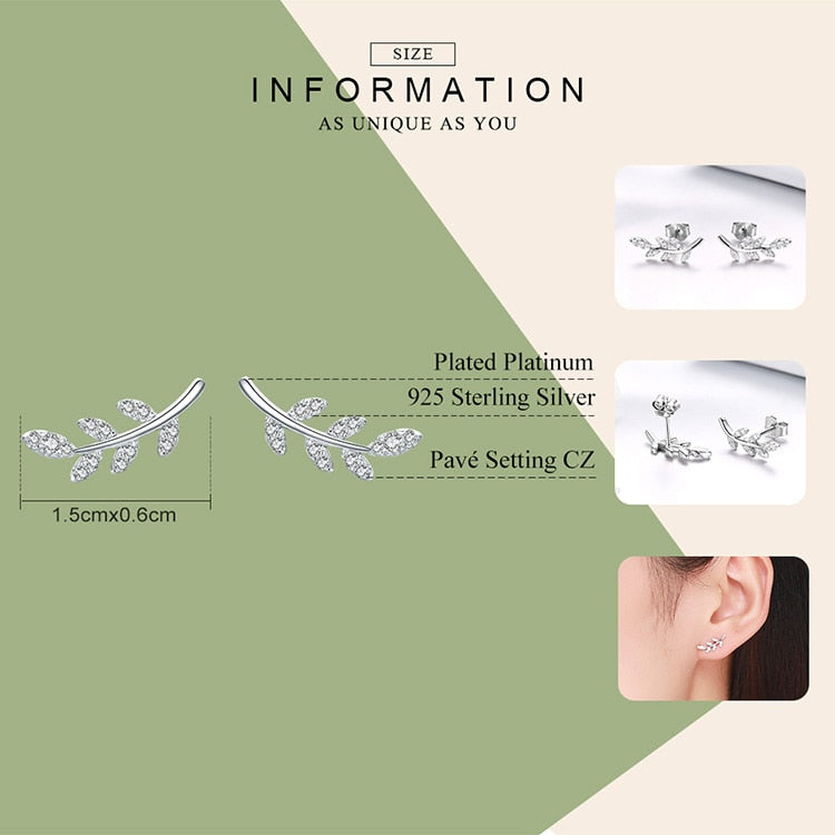 Silver spring leaf shaped earrings with Zircon.