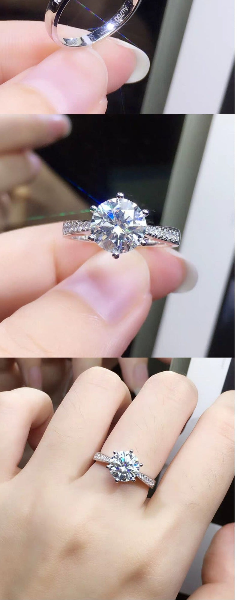 Moissanite ring  (1ct, 2ct, 3ct)
