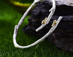 "Handmade Silver ""Bird on branch"" Bangle."