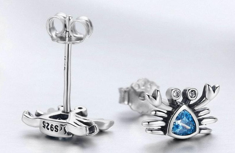 Ocean Crab  stud earrings made from cubic Zirconia & 925 sterling Silver