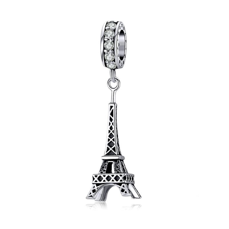Silver Eiffel Tower pendant for Bracelet or Necklace