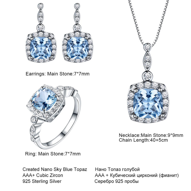 Sky Blue Topaz jewelry set - ring, pendant & stud earrings