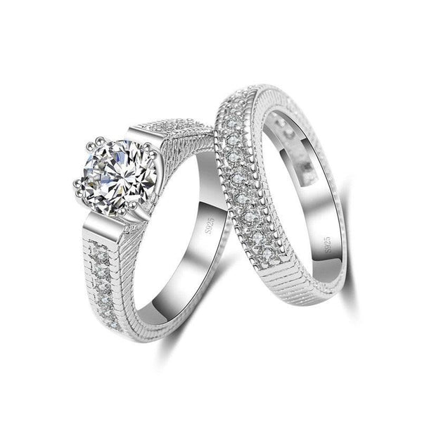 2pcs Sterling Silver, Zircon ring set.