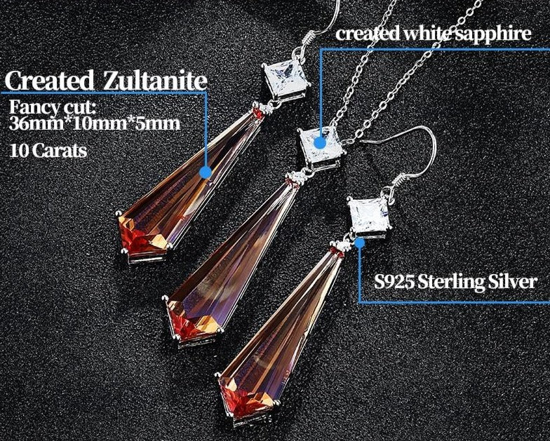 Changing color Zultanite & Sapphire stones(20 Carats)  jewelry set - Necklace + earrings.