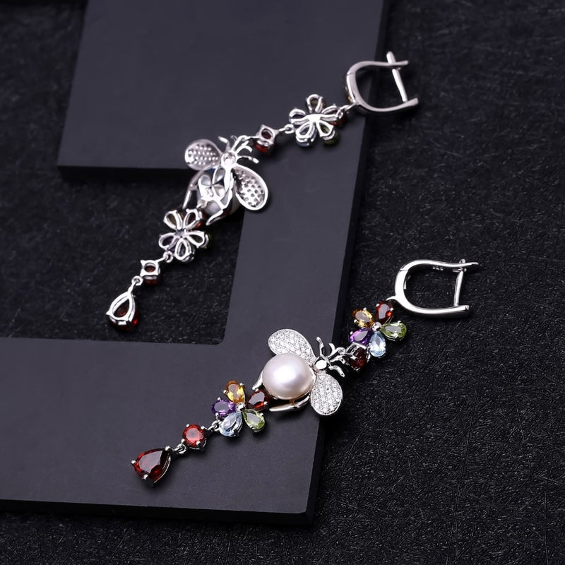 Natural Flower Multicolor Gemstone Earrings with freshwater Pearls- 925 Sterling Silver