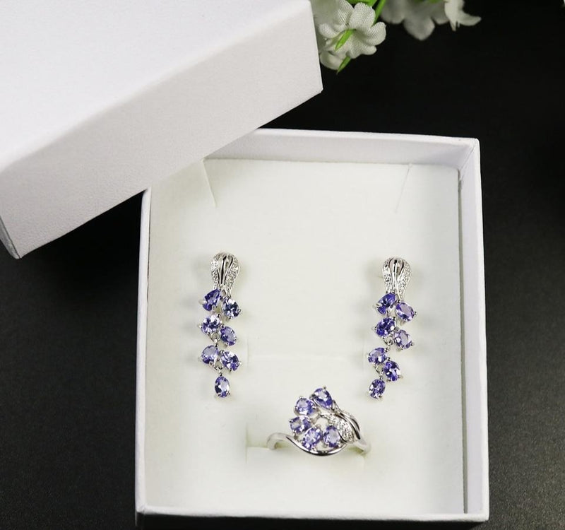 Rose Design Natural Blue Tanzanite gemstone jewelry set.- 925 sterling silver