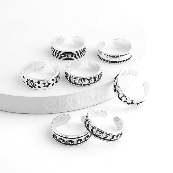 7PCS hippy adjustable rings for your fingers & toes made from Stainless steel.