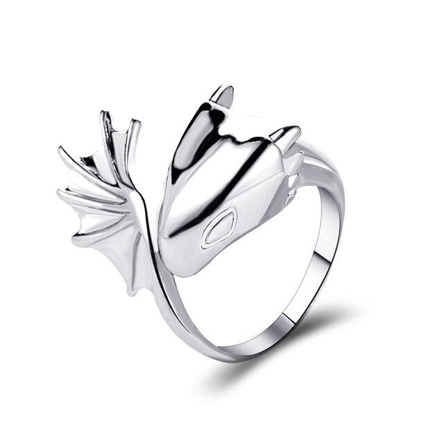 Black or Silver Dragon-Shape Unisex ring