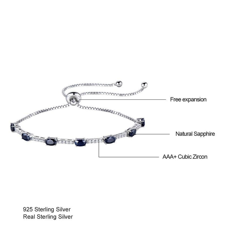 Natural Blue Sapphire Bracelet (2.45ct) with 925 Sterling Silver