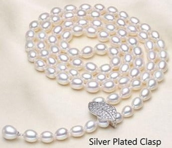 Natural Freshwater Pearl Necklace with 925 silver Long necklace.
