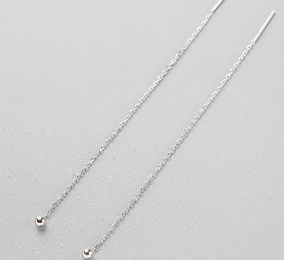 Sterling Silver drop earrings with long Tassel Metal Chain pendant.