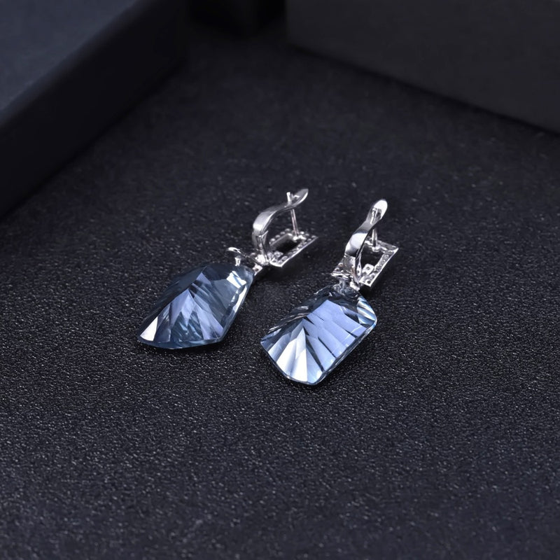 Natural Iolite Blue Mystic Quartz Gemstone (42.40Ct) Drop Earrings- 925 Sterling Silver