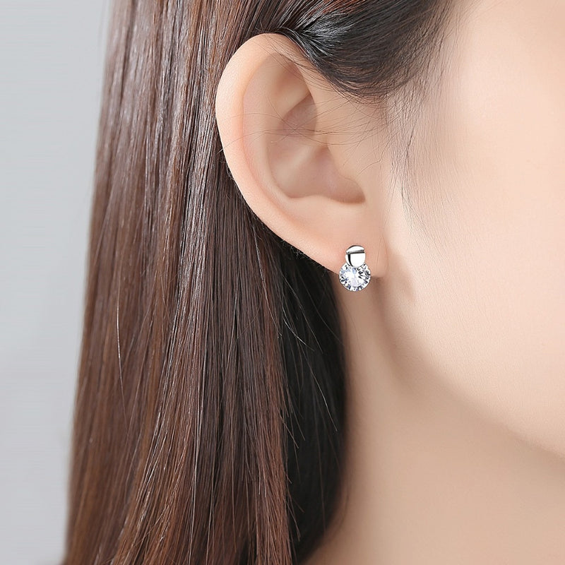 Round Cubic Zircon stud earrings with Silver
