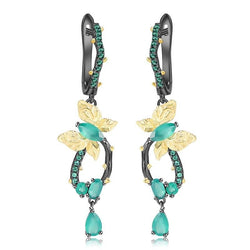 Handmade butterfly shaped earrings. Made from natural Green Agate Gemstone Earrings with 925 Sterling Silver.