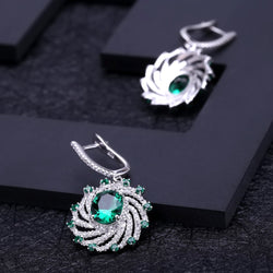 Green Emerald gemstone drop earrings-  925 Sterling Silver
