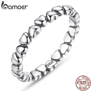 "BAOMER   Sterling Silver ""Forever Love"" Heart Ring for Women"