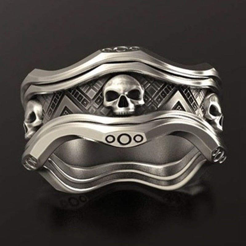 FANKU  Retro Style Gothic Crown Skull Ring for Men