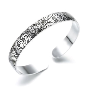 Lotus Sutra Sterling Silver Tibetan Cuff Bracelet for Women