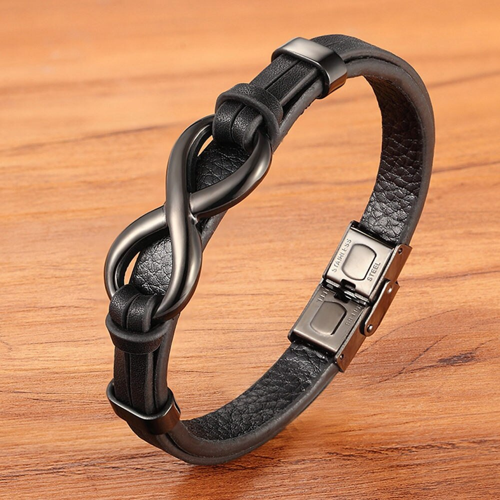 Infinity Loop Stainless Steel Leather Bracelet for Men or Women