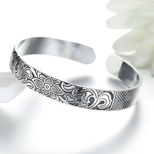 Load image into Gallery viewer, Lotus Sutra Sterling Silver Tibetan Cuff Bracelet for Women