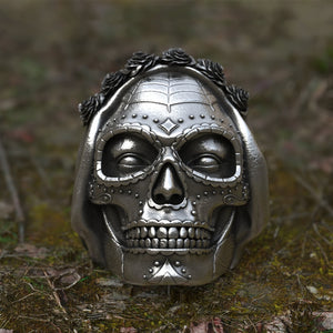 EYHIMD Goth Santa Muerte Stainless Steel Men's Skull Ring