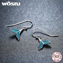 Load image into Gallery viewer, WOSTU   Unique Sterling Silver Women's Mermaid Tail Earrings & Necklace Set