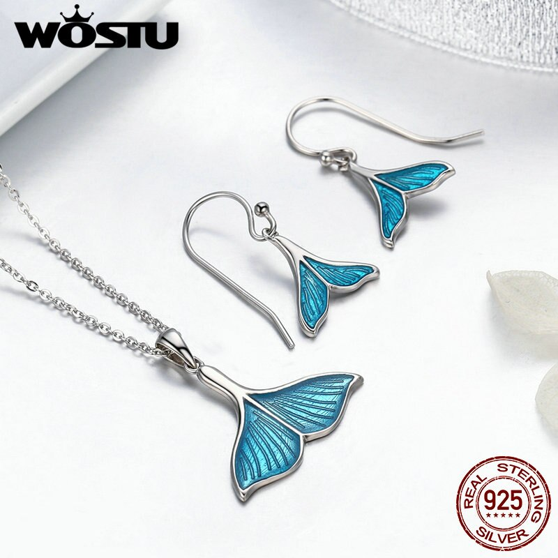 WOSTU   Unique Sterling Silver Women's Mermaid Tail Earrings & Necklace Set