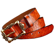 Load image into Gallery viewer, BeHighKing   Genuine Leather Floral Embossed Belt with Antiqued Gold Buckle
