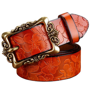 BeHighKing   Genuine Leather Floral Embossed Belt with Antiqued Gold Buckle