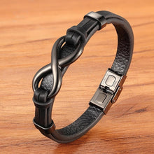 Load image into Gallery viewer, Infinity Loop Stainless Steel Leather Bracelet for Men or Women
