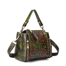 Load image into Gallery viewer, BAOERSEN  Genuine Leather Floral Brushed Embossed Cross-body Purse Handbag
