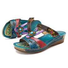 Load image into Gallery viewer, SOCOFY  Women's Roman Style Premium Sandals with Floral Embossed Print