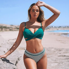 Load image into Gallery viewer, SOPREV  Bohemian Style Solid Push-up Top & Floral or Striped Bottom Bikini Set