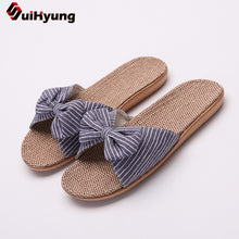 Load image into Gallery viewer, SUI-HYUNG  Casual Flax Summer Beach Sandals with Bow Accent - Variety Colors