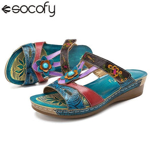SOCOFY  Women's Roman Style Premium Sandals with Floral Embossed Print