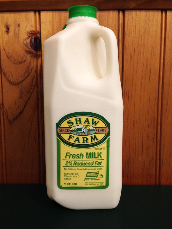 Shaw Farm - 2% Milk, half-gallon plastic