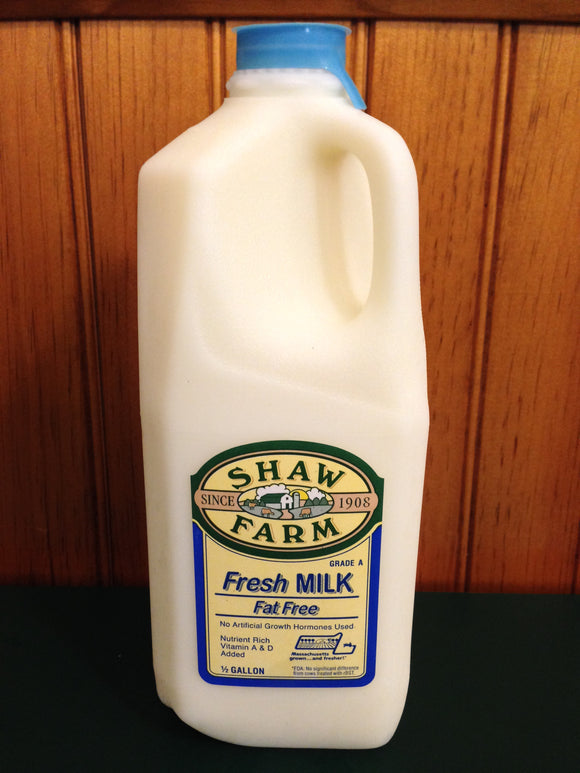 Shaw Farm - Fat Free Milk, half-gallon plastic