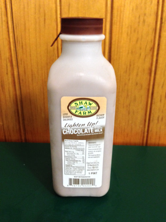 Shaw Farm - Lighten Up™ Chocolate Milk, pint plastic
